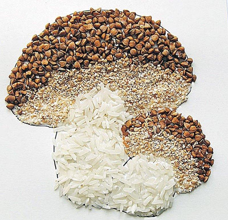 Картинки из риса и гречки